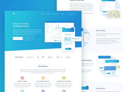 Ticketing Software Landing Page ios ux logo web app app dashboard ticket card data analytics branding typography web design onboarding landing page illustration