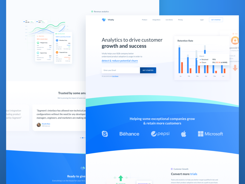 Vitally Homepage branding kpi customer growth and success analytics business development churn ux design data analyze typography web design onboarding illustration landing page