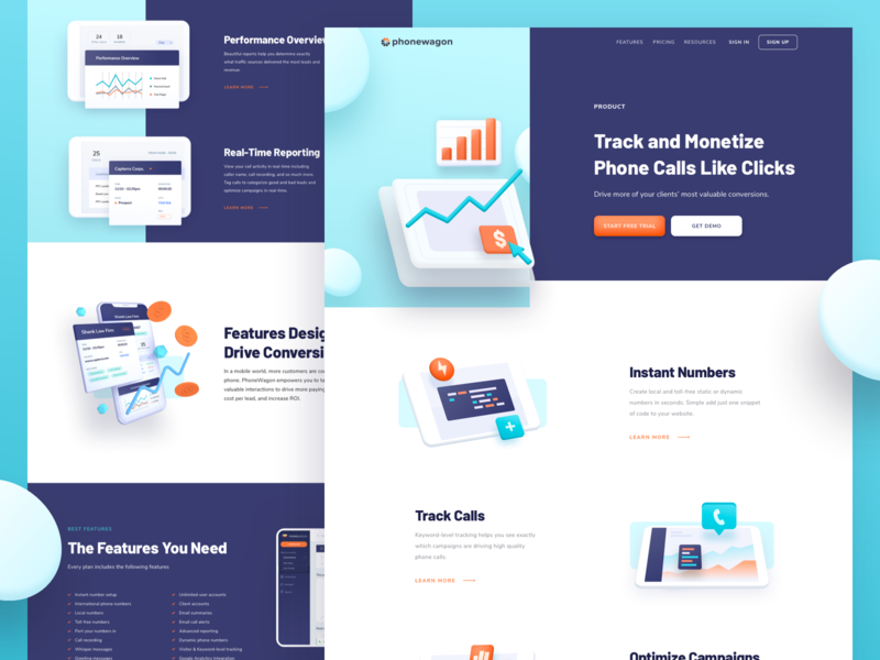 Phonewagon : Features icon web design isometric illustration 3d illustration front end development user experience design marketing website interface reporting high conversion conversation messaging analytics call tracking features wordpress wp development onboarding branding landing page illustration