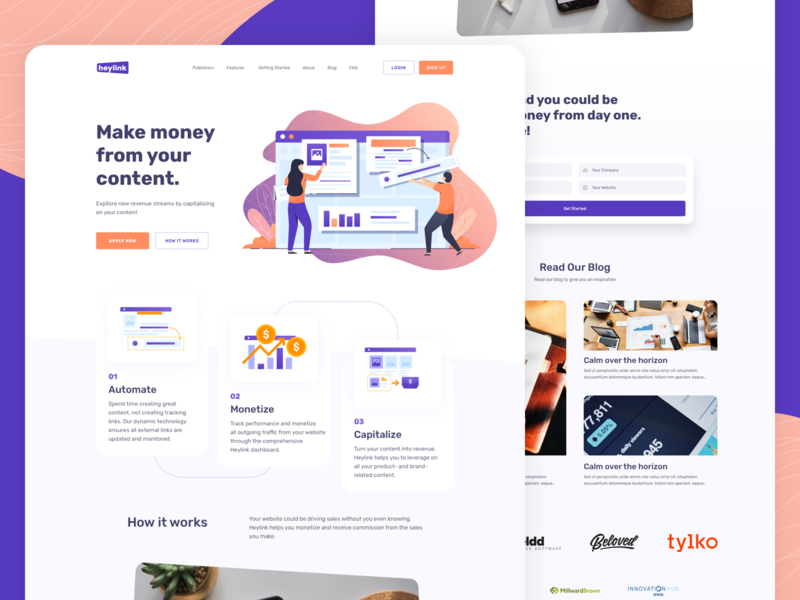 Heylink Homepage web app design product design branding content marketing automation ads publisher web app logo vector web design landing page illustration