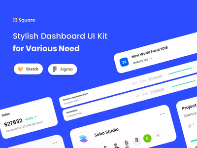 Square Stylish Dashboard UI Kit freebies ui kit dashboard template project management web analytics ux ui design dashboard design web app dashboard web design landing page illustration