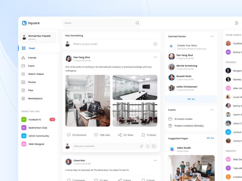 Social Media Feed chat story feed dashboard ui kit feed status friend list dashboard social media social media design