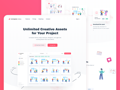 Iconspace Library Landing Page illustration library freebies header illustration header apps icon dashboard web design onboarding landing page illustration