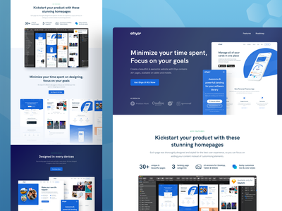 Ehya Landing Page Templates dashboard app landing page about page product page marketing website illustration design freebies ui design landing page template design template ui kit onboarding landing page web design