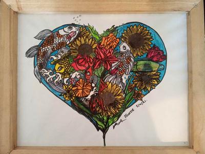 Sunflowers and koi fish painting eel heart sunflowers koi fish jenksies arts acrylic acrylicpainting