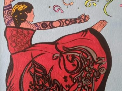 Islamic dancer female dancer islamic jenksies arts acrylic acrylicpainting