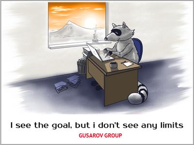 Racoon working hard digital racoon gusarov group