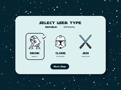 Select User Type starwar select user type illustration ui challange ui design
