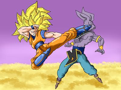 Goku vs beerus illustration anime beerus goku dragonball dragon ball z