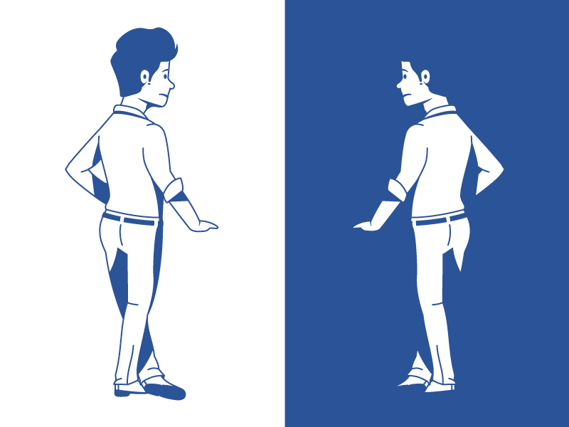 Concerned Man business blue leaning standing man monochrome outline vector illustration