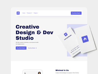 LoreUp Studio typography uiux blue ui design web design webdesign minimal web ui design