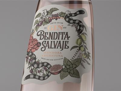 Bendita y Salvaje branding concept renders argentina mendoza gin typography logo premium design packaging packagedesign labeldesign illustration bottle mockup bottle label award winning