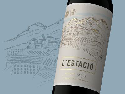 L´Estació procreate art packaging illustration art wine label branding concept packagedesign premium design branding logo bottle mockup illustration bottle label