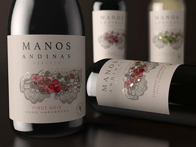 Manos Andinas branding concept wine label illustration art typography packagedesign award winning bottle mockup illustration packaging bottle label