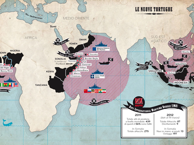 Le nuove tortughe map infographic piracy