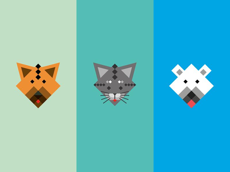 Animals animals squared dog cat polar bear pixel shaped
