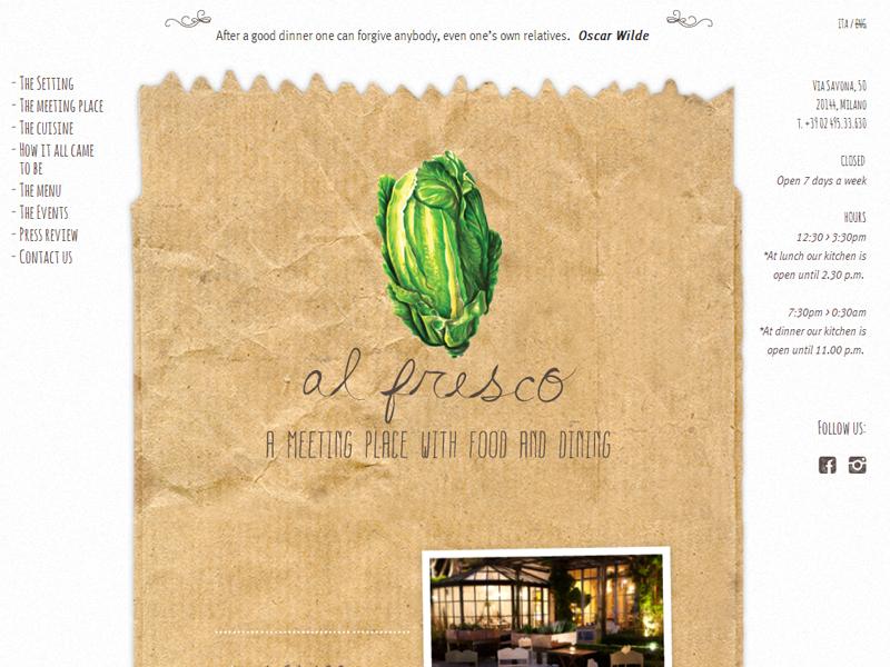 Al fresco restaurant website paper