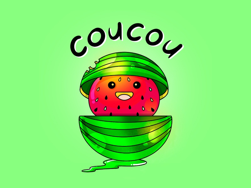 Watermelon creative illustration sticker design summer green watermelon design art charachter stickers illustrator illustration design humor colors characterdesign