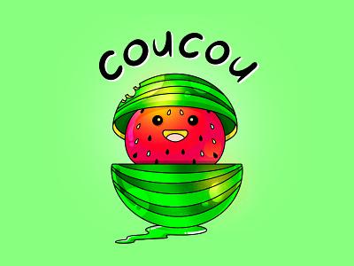 Watermelon creative illustration sticker design summer green watermelon design art charachter stickers illustrator illustration design humor colors characterdesign
