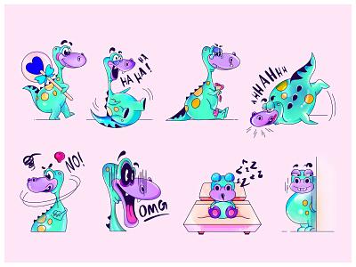 Dagy Stickers Collection blue green procreate illustraion emoji funny dragon stickers sticker