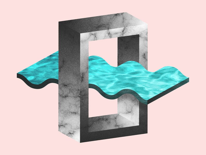 [~] texture still life minimal geometric 3d pastel marble wave squiggle illustration