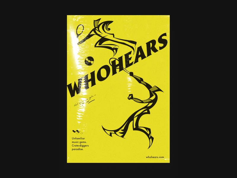 Whohears - Poster logo branding vinyl typogaphy poster music