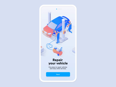 Car service onboarding animation forms mobile app service car illustration onboarding mobile ui