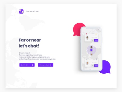 One-on-one chat landing page landing page vibrant weather private anonymous dating location tinder map android ios chat