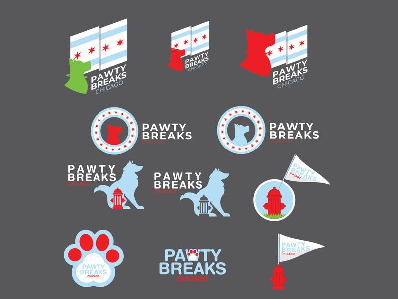 Pawty Breaks Chi (WIP) dog walking dog vector graphic design illustration chicago logo