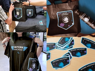 Swag for LinkedIn's Intern Hackday 2016 hackathon spaceman space satellite rocketship interns planet patch linkedin badge swag
