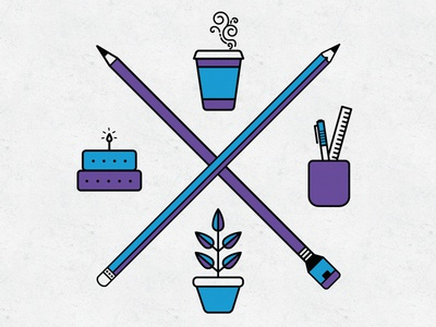 Fun & simple icon designs pens coffee cup birthday cake plant stationery pencils