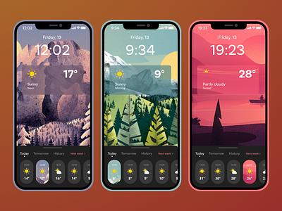Weather app mobile branding design dark theme ui notes week illustration temperature weather forecast ios mobile app weather app weather