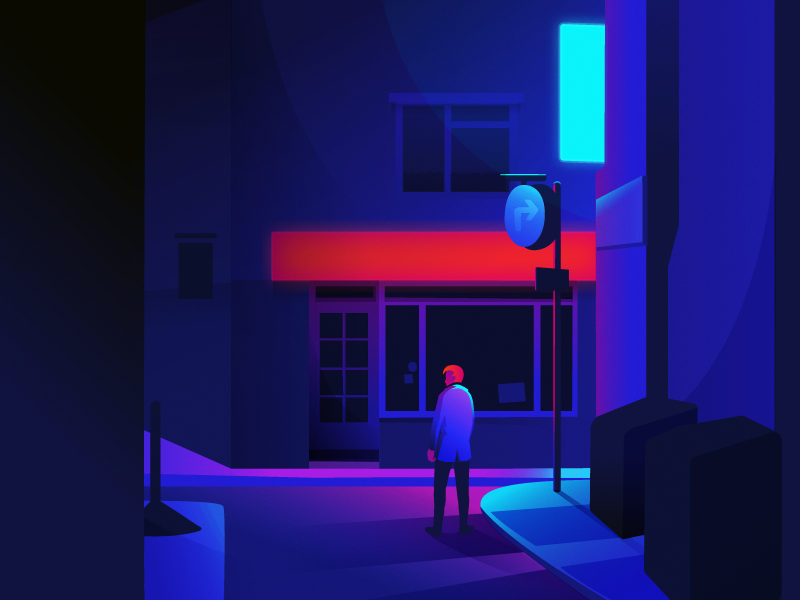 Neon Street night illustration cyberpunk scene neon street