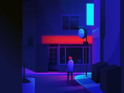 Neon Street night illustration cyberpunk scene neon street