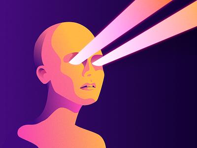 Resistance Is Futile vaporware cyberpunk retrowave alien face lasers cyborg illustration