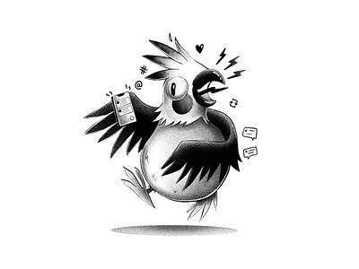 The Tweeter grain black  white illustration parrots bird twitter