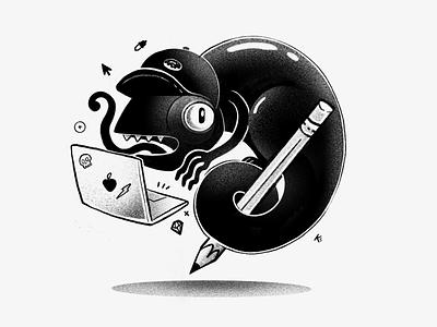 Creative Chameleon procreate black geek grain blackandwhite animal pencil lizard macbook designer design creative chameleon