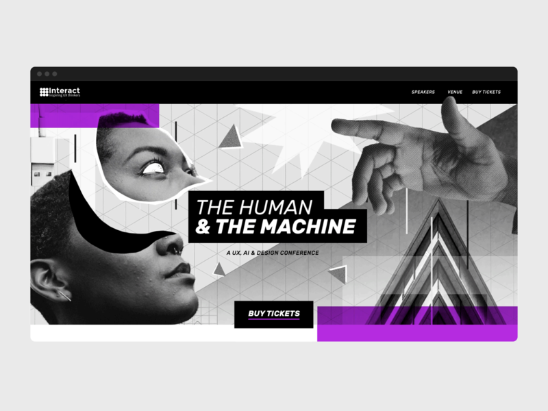 The Human & The Machine futurism collage branding webdesign website artwork conference machine human cyberpunk ui blackandwhite illustration