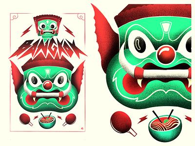 Bangkok drawing procreate illustration grain wat arun poster monster culture noodles face temple travel thailand bangkok