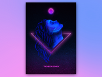 The Neon Demon pagan moon procreate sketch cyberpunk retro portrait face woman movie fanart fan witchcraft witch poster film demon neon