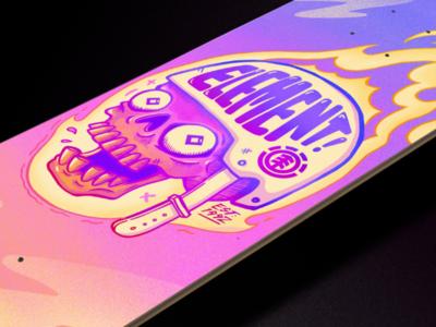 FLAMIN' DECK! drawing procreate eyeball yellow pink sky gradient grain illustration flames skull deck skate art skate skateboard