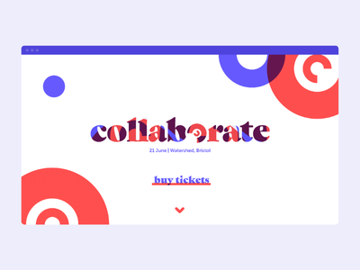 Collaborate minimalist simple shapes homepage website home ui red blue brand rebrand conference collaborate