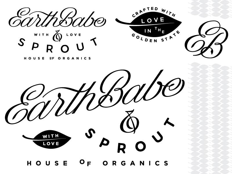 EarthBabe typography pattern hand lettering logo branding