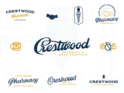 CP&SF font script marks snakes handshake showglobe pharmacy cpsf alabama birmingham crestwood branding
