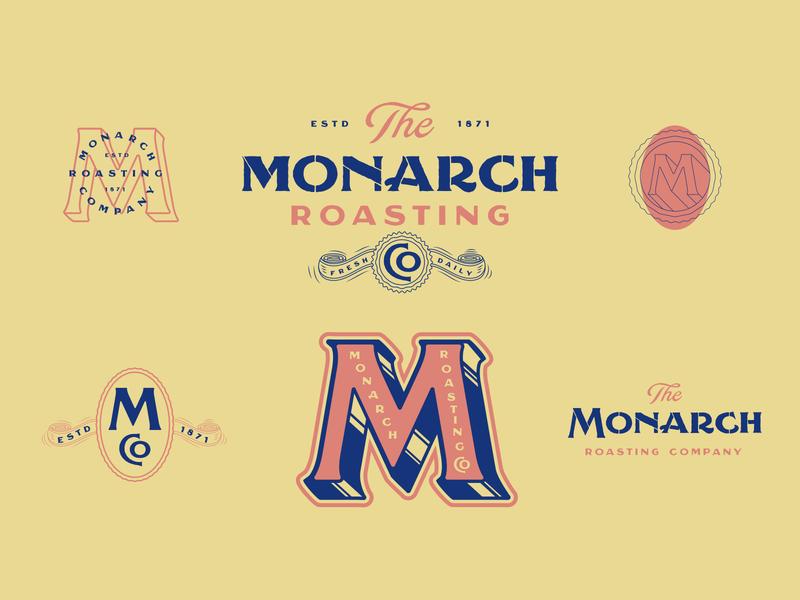 The Monarch Roasting Co. typedesign sans serif serif stencil type design typeface handlettering typography font type logo branding lettering