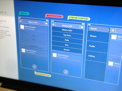 Stream wireframing social wireframe blue stream menu screen