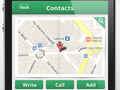Contacts screen contact map info app