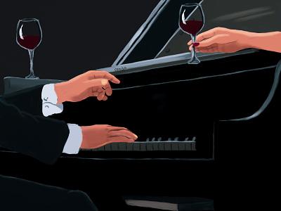 Wine So Fine romance illustration music jazz art