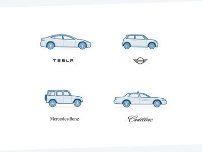 Car Illustrations - Weekly Project collection illustration mercedes cadillac mini model x tesla duotone blue car