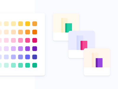 Coherent Color System for Illustrations pastel theme thumbnails cards system library palette colors illustration